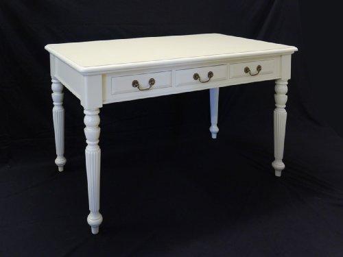 Schreibtisch Tisch Antik Stil Creme-weiß mit 3 Schubladen aus Massivholz (2510)