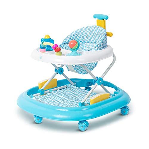 Moolo Trotteurs Trotteur, Trotteur à Hauteur Variable avec Musique Pendant 6-18 Mois Premiers Pas pour bébé Charge maximale 15 kg (Couleur : Bleu)