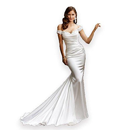 Fenghuavip Off-Shoulder Long Train Satin White Bridal Wedding Dress Mermaid (12)