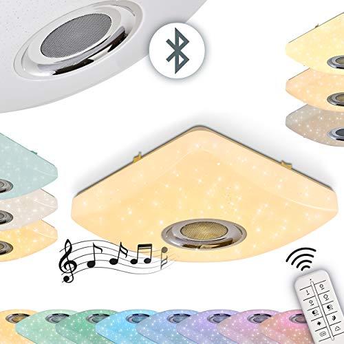 LED Deckenleuchte Lovisa, dimmbare Deckenlampe aus Metall in Chrom, 18 Watt, 100-1600 Lumen, 3000-6000 Kelvin, m. Farbwechsler, Fernbedienung, Bluetooth Lautsprecher, über Smartphone-App steuerbar