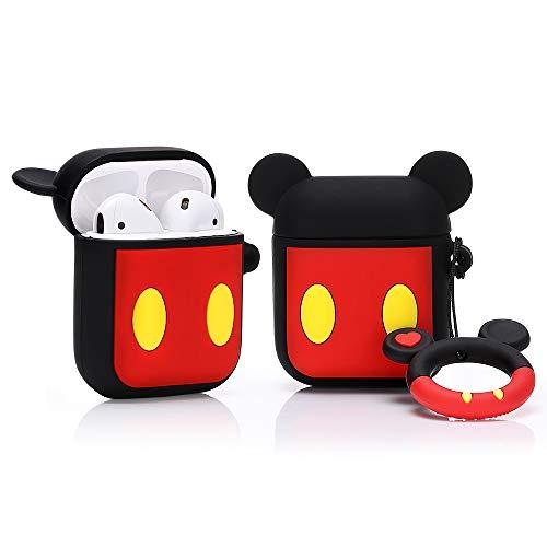LEWOTE Airpods Carcasa de Silicona Compatible con Airpods de Apple 1 y 2 [Diseño de Dibujos Animados][Niñas o Parejas] (Mickey)