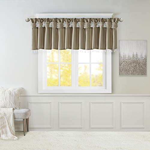 Madison Park Emilia Faux Silk Curtain with Privacy Lining, DIY Twist Tab Top, Window Drapes for Living Room, Bedroom and Dorm, 50x26, Pewter