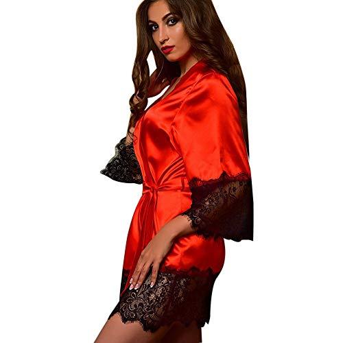 MRULIC Damen Kimono Dressing Babydoll Spitze und Seide Dessous Bademantel Frühling und Herbst Nachtwäsche Robe Nightwear Kleid Morgenmäntel(Rot,M)