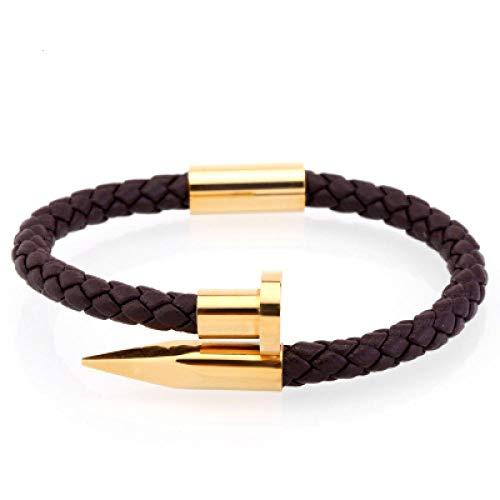 Armband sieraden Heren Armband/Echt Leer/Roestvrij Staal/Luxe/Heren Armband Bedel Gouden Spijker Handgemaakte Heren Sieraden Brownleathergold