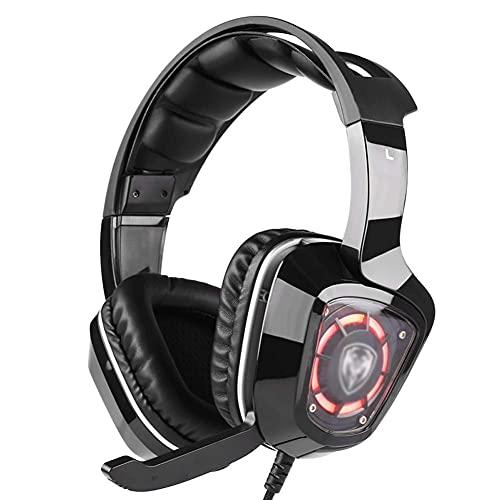 N&I Auriculares para juegos con cable y micrófono con cancelación de ruido para ordenadores portátiles y ordenadores con luz RGB (color: negro)