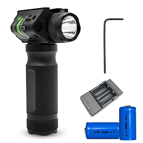Super Strong 600 Lumen Handheld Flashlight for 20mm Guide Rail Continuous and Strobe Light Dual Mode Green
