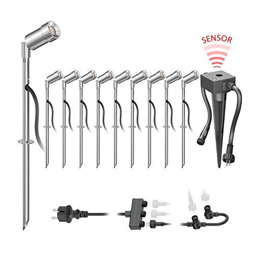 parlat LED Gartenstrahler Spico mit Erdspieß und Dämmerungssensor für außen IP44 68lm warm-weiß 10er Set