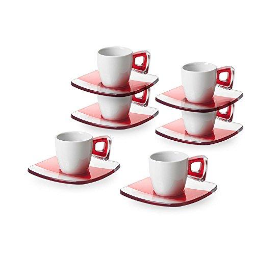 Omada Design Set di 6 Tazzine da Caffè con Manico e Piattini, in Porcellana e plastica, Lavabili in Lavastoviglie, Linea Square, Rosso