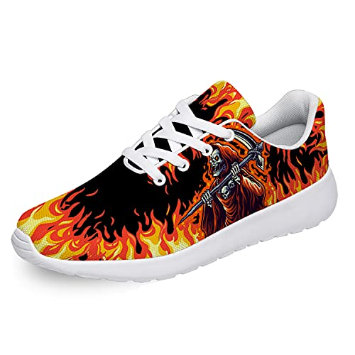 Skull Shoes Mens Womens Running Shoes Walking Tennis Sneakers Fire Grim Reaper Death Skull Orange Halloween Cool Shoes Gifts for Men Women,Size 10.5 Men/12 Women White