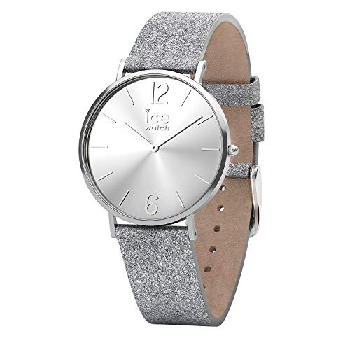 Ice-Watch - CITY sparkling - Glitter Silver - Women's wristwatch with leather strap - 015086 (Small)