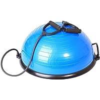 SportPlus SP-GB-001 Semiesfera de Equilibrio con Correas de Resistencia – Balance Trainer Fitball – Media Bola Fitness Pilates, Azul, 62x25cm (ØxA)