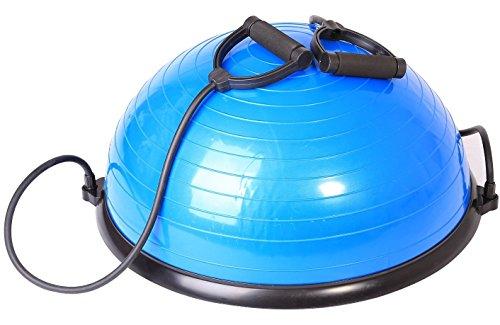 SportPlus Balance Ball Halbkugel inkl. Traningsbänder, ca. 62 cm Durchmesser, Balance Trainer für Gleichgewicht & Stabilität, max. Nutzergewicht 120 kg, geprüfte Sicherheit, SP-GB-001