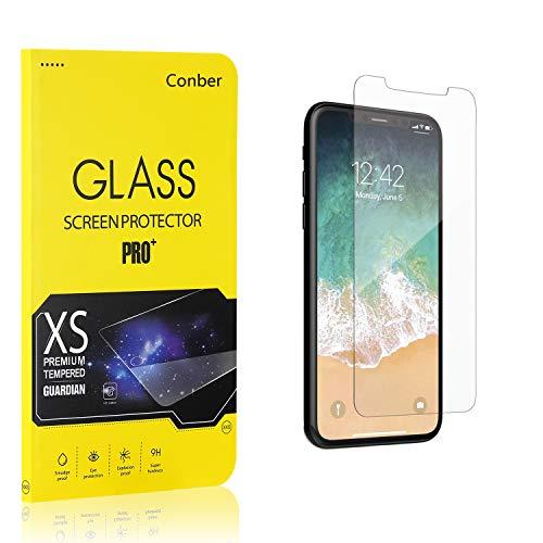 [4 Stück] Conber Panzerglas Schutzfolie für iPhone 11 Pro/iPhone XS/iPhone X, [9H Härte][Anti-Kratzen][Anti-Bläschen] Panzerglasfolie Displayschutz für iPhone 11 Pro/iPhone XS/iPhone X