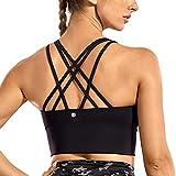 CRZ YOGA Strappy Sports Bras for Women Longline Wirefree Padded Medium Support Yoga Bra Top Black Medium