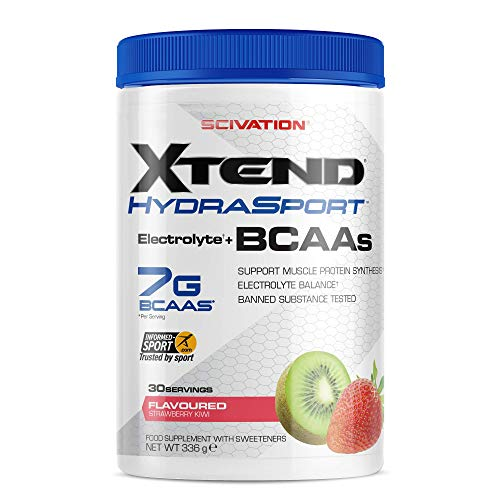 XTEND Hydrasport BCAA Powder Strawberry Kiwi | Suikervrij BCAA-supplement met Elektrolyten voor Herstel en Hydratatie | 7 g BCAAs for Men & Women | 30 Doseringen