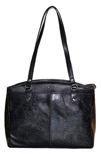 Patricia Nash Poppy Metallic Map Embossed Bag, Black/Pewter
