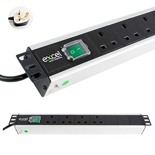 I-CHOOSE LIMITED Unidad De Distribución Energía PDU Montaje En Rack 2U y 4 Vías | Horizontal | Enchufes del Reino Unido | Reino Unido BS1363 Enchufe | Cable de 3 m