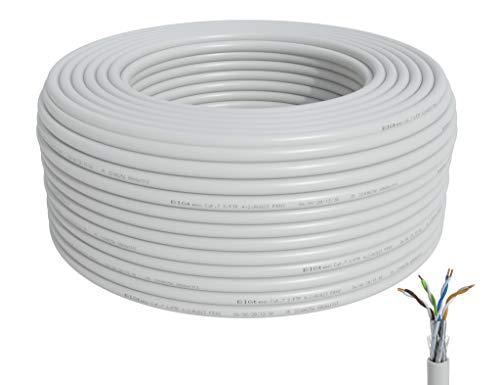 BIGtec CAT 7 Netzwerkkabel Verlegekabel LAN Kabel 50m weiß CAT7 PiMF S/FTP halogenfrei BauPVO Eca POE Gigabit Netzwerk Installationskabel Datenkabel CAT.7