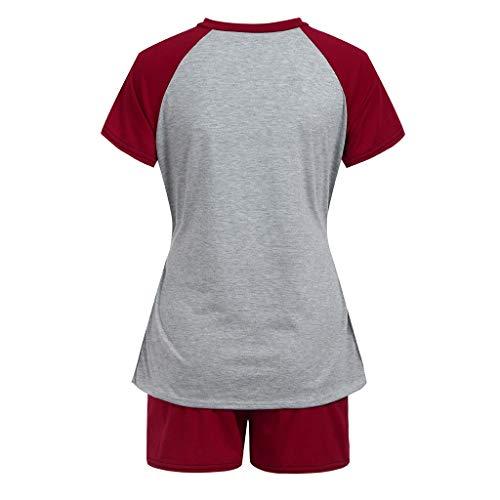 H.eternal(TM) 2 piezas mujeres maternidad manga corta enfermería bebé tops camiseta+pantalones cortos pijama conjunto maternidad pijama conjunto conjunto de lactancia materna top & Bottoms