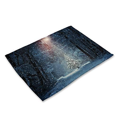Tafelset van grote katoenen set met 6 tafelkleden, Starry nachtkastje, Galaxy druk, linnen, katoen, heat, wasbaar, duurzaam AH