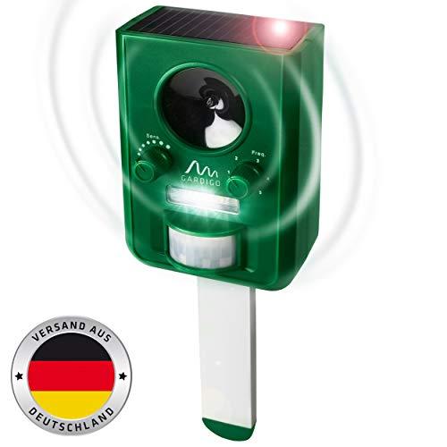 Gardigo 60058 - Repellente Ultrasuoni per allontanare Cani, Gatti, Volatili, Martore, Procioni; Dissuasori a Batteria e ad Energia Solare