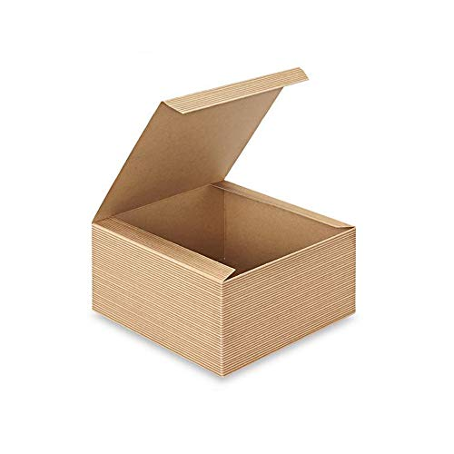 AwePackage 12 Count of Pinstripe Kraft Gift Box - 4x4x2""