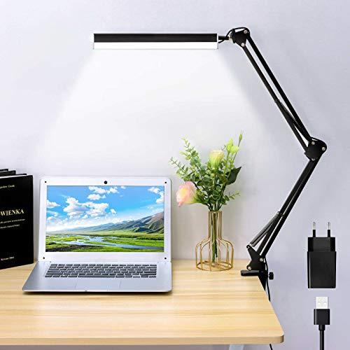 Vingtank Lámpara LED de escritorio con brazo giratorio, 14 W, para oficina, con pinza y 3 colores, atenuación continua, protección para los ojos, luz de lectura USB con adaptador