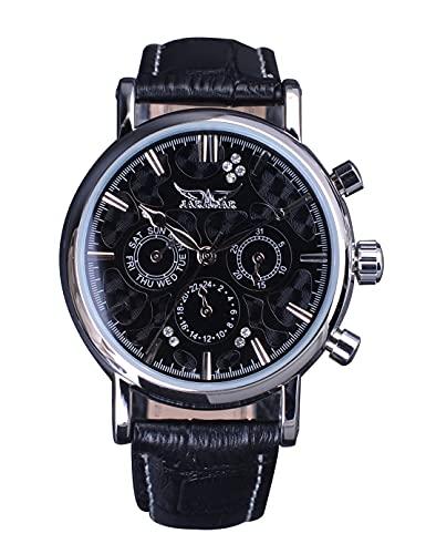 Jaragar Reloj de pulsera mecánico con 3 dails para hombre, estilo casual, calendario completo, relojes automáticos para hombre, vestido de diamante de acero inoxidable