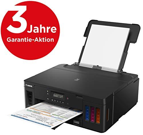 Canon PIXMA G5050 MegaTank Drucker nachfüllbar Tintenstrahl DIN A4 (4.800x1.200 dpi, WLAN, USB, 2 Papierzuführungen, Duplexdruck, große Tanks, niedrige Kosten/Seite) schwarz