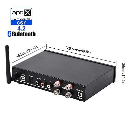 Fosi Audio DA2120C Bluetooth Amplifier 120W x2 Stereo Hi-Fi 2.1 Channel Wireless Stream aptX, 24Bit/192kHz Class D Compact Mini Power Amp Integrated USB DAC Coaxial Optical, Support Subwoofer & Remote