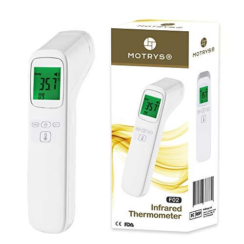 MOTRYS® Termómetro Frontal Infrarrojo 4 en 1 | Toma de temperatura rápida y sin contacto | Pantalla digital retroiluminada | Alerta fiebre importante, función de memoria | Bebé niño o adulto