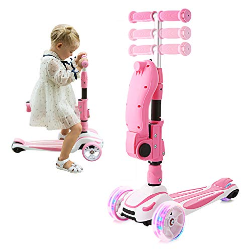Hikole 3 Wheels Scooter for Kids with Foldable and Removable Seat – Adjustable Height, 3 LED Light Wheels, Kick Scooter for Girls & Boys 3-8 Years Old (Pink)