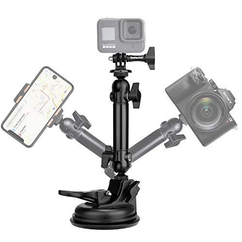 Super 90mm Action camera Auto Kamera Saugnapf KFZ Handyhalterung Auto Smartphone Autohalterung Handy Cockpit Windschutzscheibe Camcorder Halterung mit 2 Kugelkopf für GoPro DJI iPhone(BELASTUNG 1.6Kg)