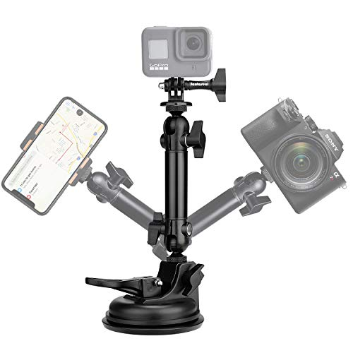 Action Camera Smartphone Suction Cup Race Car Cockpit Mount Motion Camcorder Vehicle Windshied Hood Rooftop Holder for GoPro Sony iPhone Hi-Speed Filming