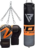 RDX Punching Bag UNFILLED Set Kick Boxing Punch Training Gloves with Hanging Chain, Great for MMA, Muay Thai, Martial Arts, Available in 4FT 5FT