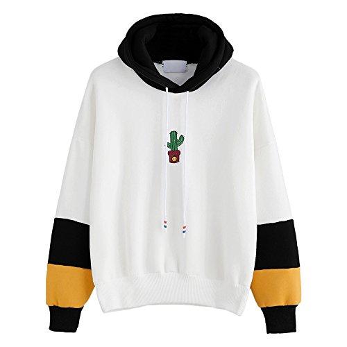Xmiral Damen Hoodies Baumwolle Mode Einfarbig Kleidung Pullover Mantel Hoody Sweatshirt (XL,Schwarz)