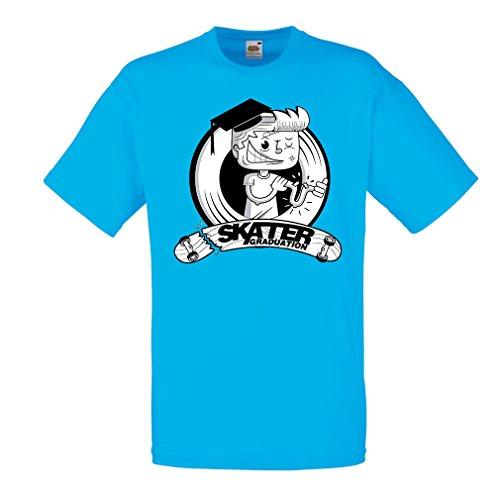 lepni.me Männer T-Shirt Pro Skate Academy für Skater, Longboard, Geschenk für Skateboarder (Small Blau Mehrfarben)