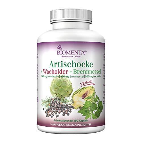 BIOMENTA Artischocke + Wacholder + Brennnessel - mit 1.200 mg Artischocken Extrakt mit 2,5% Cynarin pro Tag - 180 Artischocken Kapseln hochdosiert - 2 Monatskur - vegan