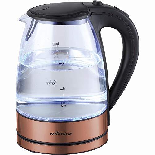Milanino Glas Wasserkocher, Wasserkocher 1.7 Liter Edelstahl mit LED-Innenbeleuchtung mit Filterauslauf und Trockenlaufschutz BPA Frei - 2200 W (Kupfer)