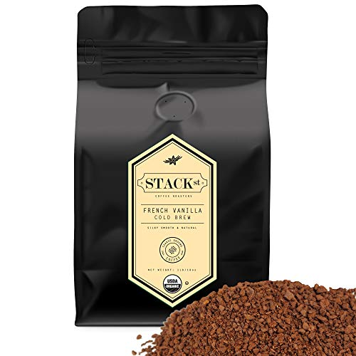 Organic French Vanilla Flavored Cold Brew Coffee Coarse Ground 1 LB - Smooth Dark Roast, Coarse Grind - By Stack Street