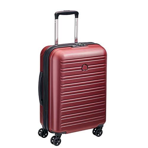 DELSEY PARIS - SEGUR 2.0 - Valise cabine rigide à double roues et serrure TSA intégrée - 55cm, 36.3L, Rouge