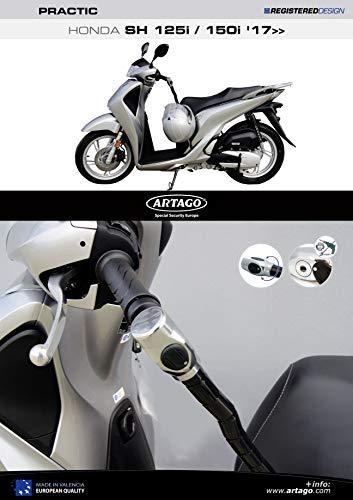 Artago 1644ART antidiefstalbeveiliging stuur Practic Art hoogwaardig met houder voor Honda Scoopy SH 125/150 2017 2018