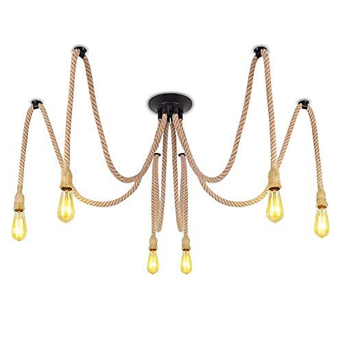 Lámpara de araña de la cuerda de cáñamo de la vendimia, lámparas colgantes de araña de 6 cabezas, luces de techo creativas industriales, enchufe de zócalo E27 en un accesorio de iluminación colgante p
