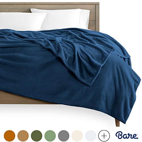 Bare Home Microplush Fleece Blanket - Full/Queen - Ultra-Soft Velvet - Luxurious Fuzzy Fleece Fur - Cozy Lightweight - Easy Care - All Season Premium Bed Blanket (Full/Queen, Dark Blue)