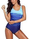 Maillot de Bain Femme 1 Pièces Amincissant Gradient de Couleur Monokini (Bleu,...