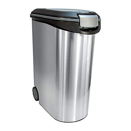 CURVER | Conteneur à croquettes 54L/20Kg - Aspect métal, Métal, Pet dry food container, 49,3x27,8x60,5 cm