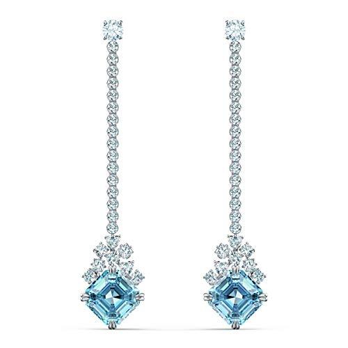 Swarovski Sparkling Linear Ohrringe, Rhodinierte Ohrhänger mit Weißen und Türkisfarbenen Swarovski Kristallen und Kristallkette