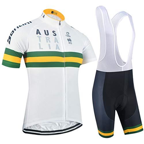 Set di Abbigliamento da Ciclismo Manica Corta da Uomo con Maglia da Ciclismo + Pantaloni da Ciclismo Imbottiti 5D
