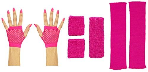 Panelize 80er Jahre Set Damen Neon pink Beinstulpen Handschuhe kurz oder lang mit Stirnband und Schweißbändern (Handschuhe kurz)