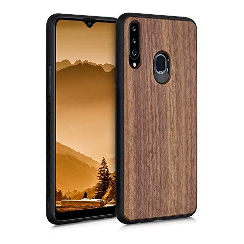 kwmobile Bumper Schutzhülle kompatibel mit Samsung Galaxy A20s - Hülle - Holz Handy Hülle Cover Dunkelbraun